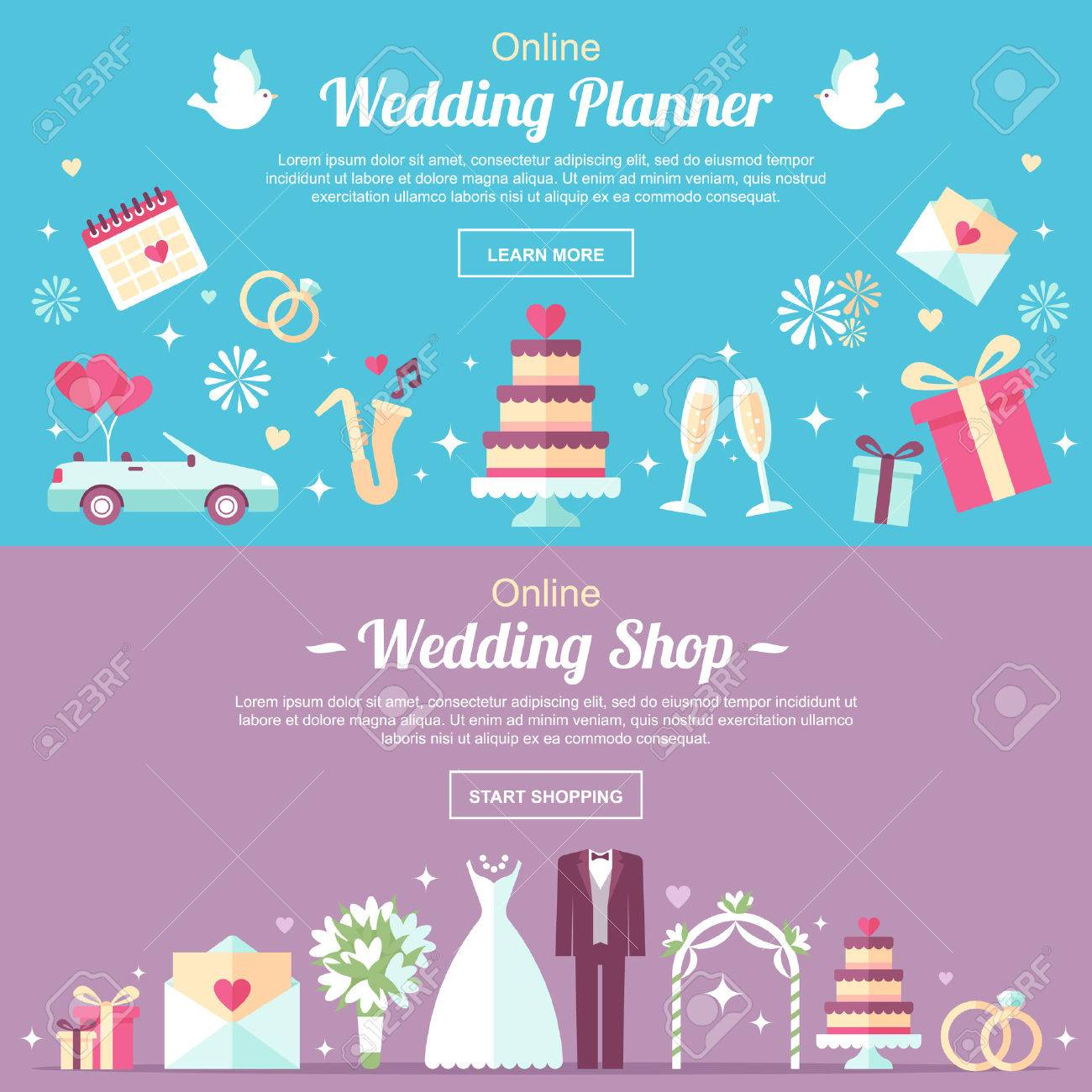 ベクトル ヘッダーやバナー デザイン テンプレート オンライン結婚式