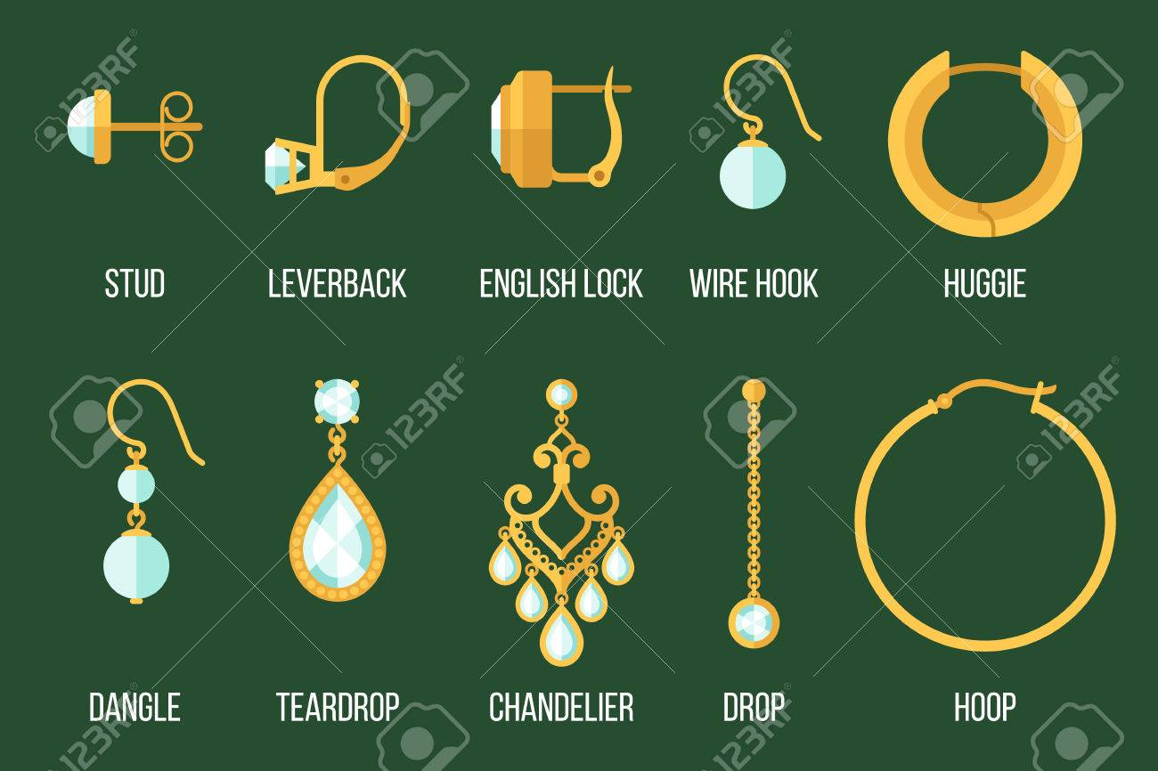 Set Of Different Earring Styles And Closure Types. Flat Style ...