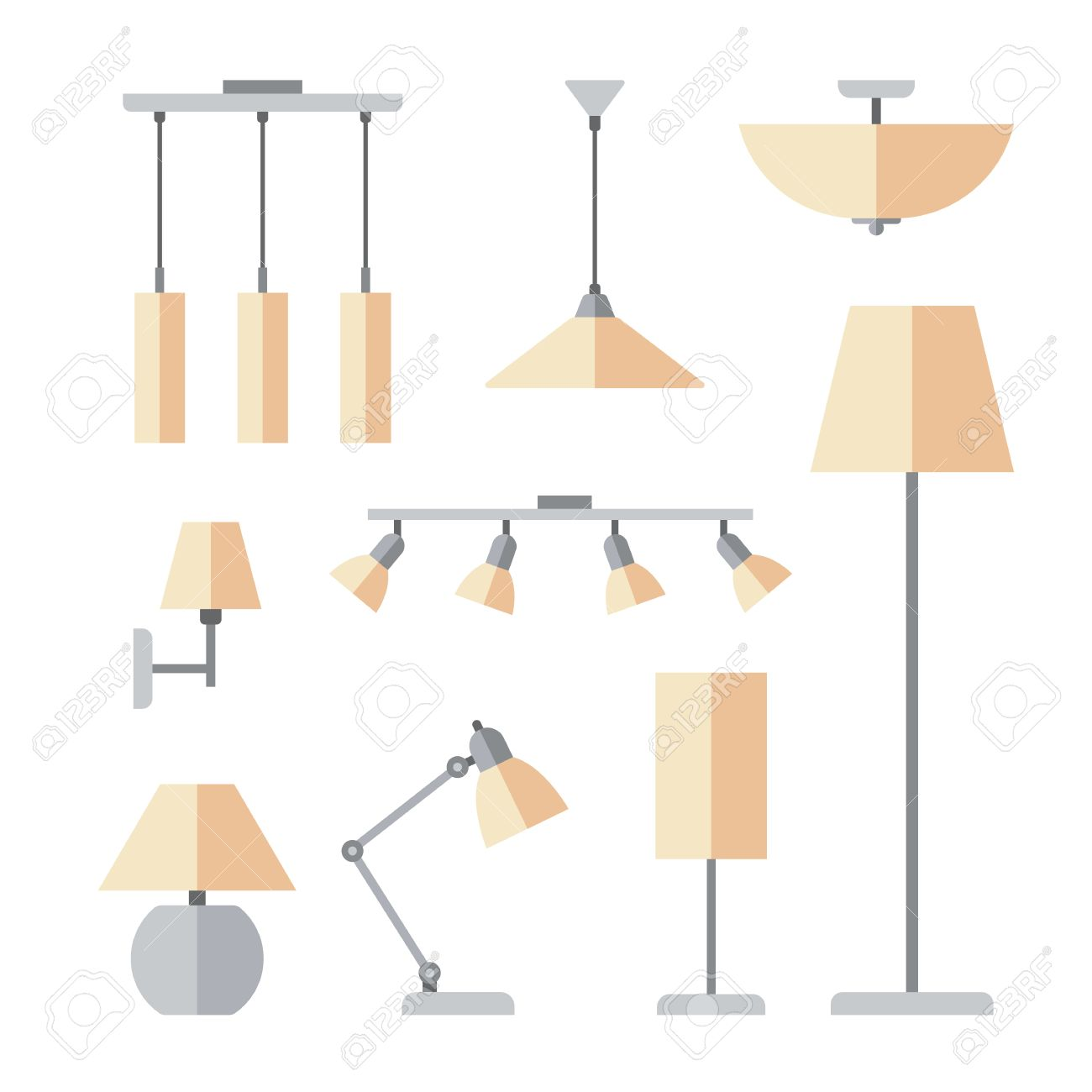 Vector set of different types of indoor lighting pendant ceiling vector set of different types of indoor lighting pendant ceiling light spotlight aloadofball Images