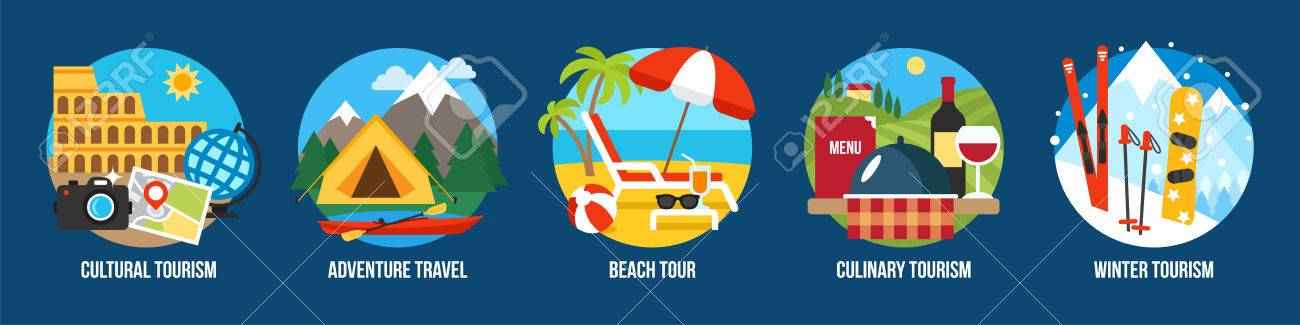 Vector set of illustrations for different types of tourism. Flat style. - 84005710