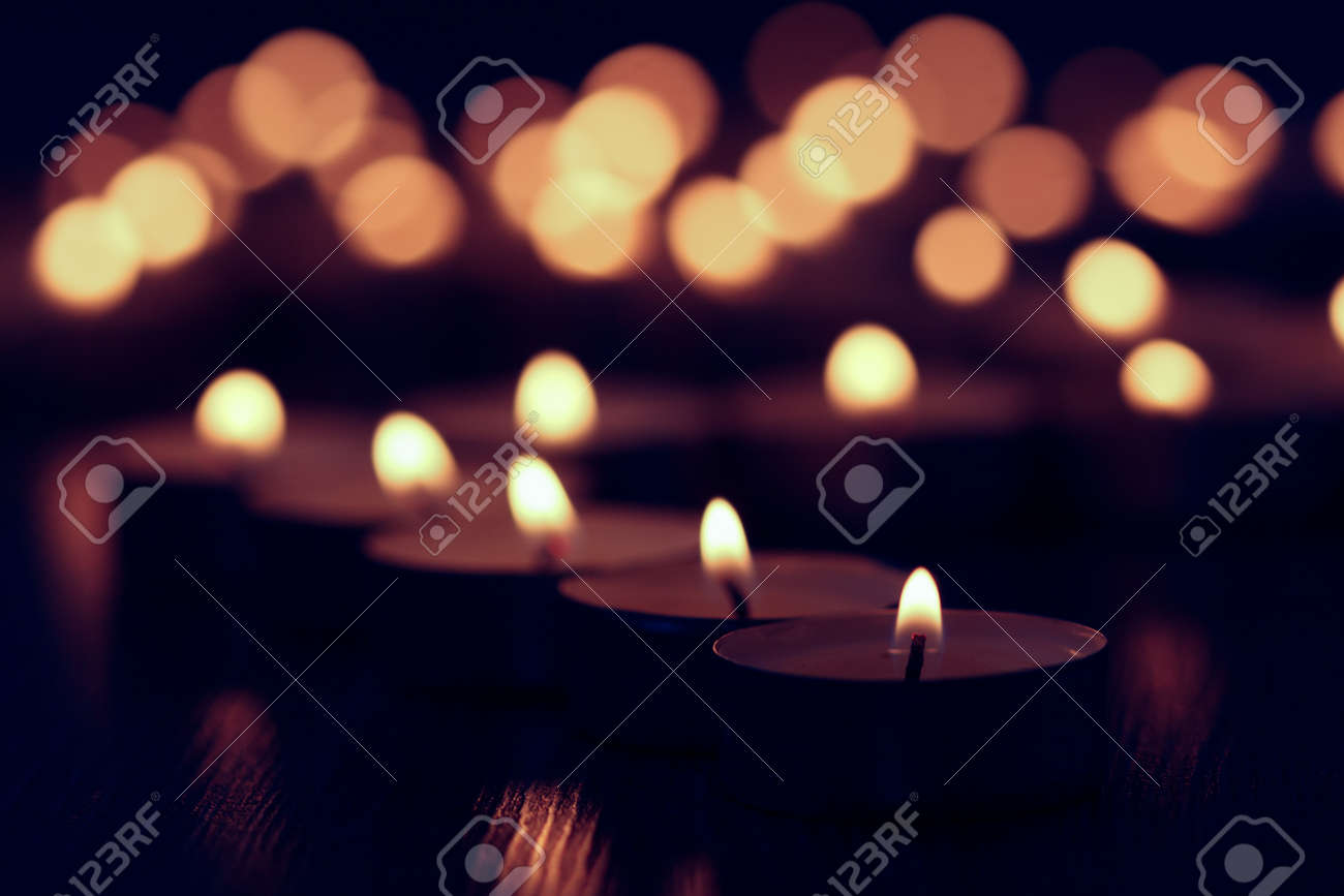 candle background fire dark flame night reflection, celebration wax. - 155392911