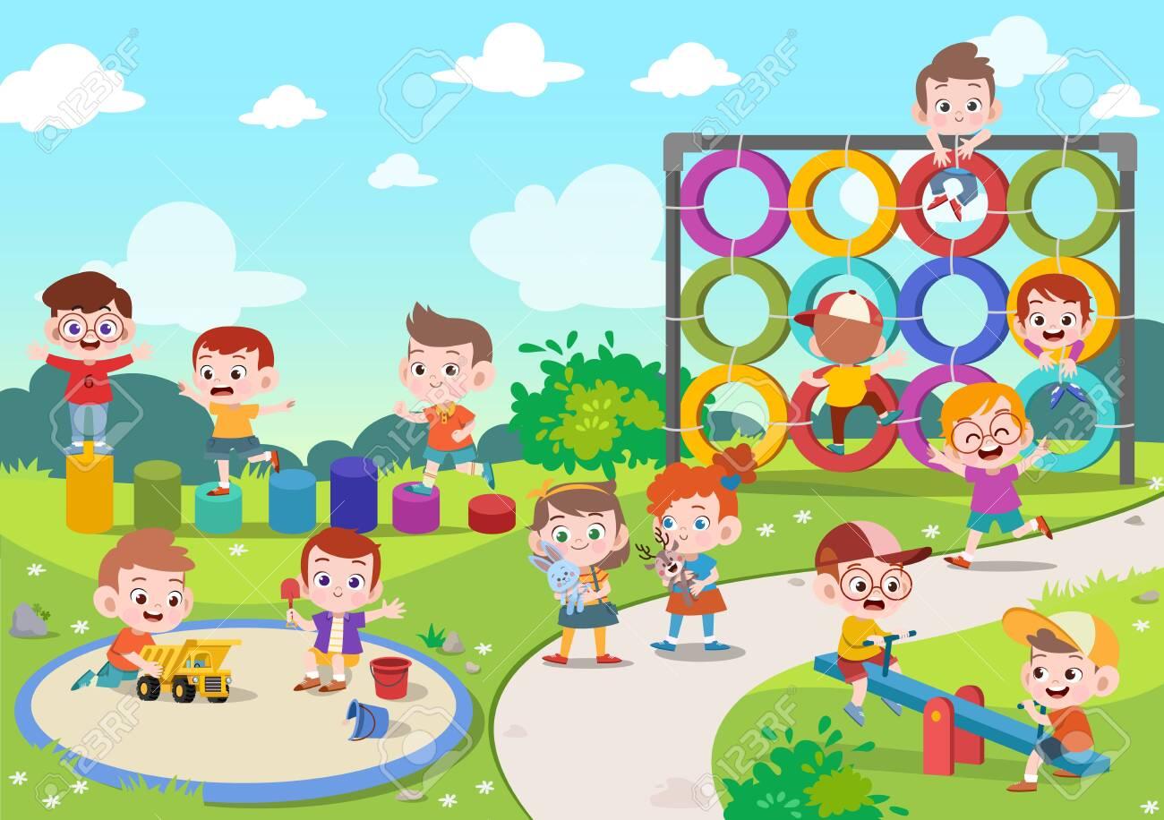 kids children playing playground vector illustration - 121178030