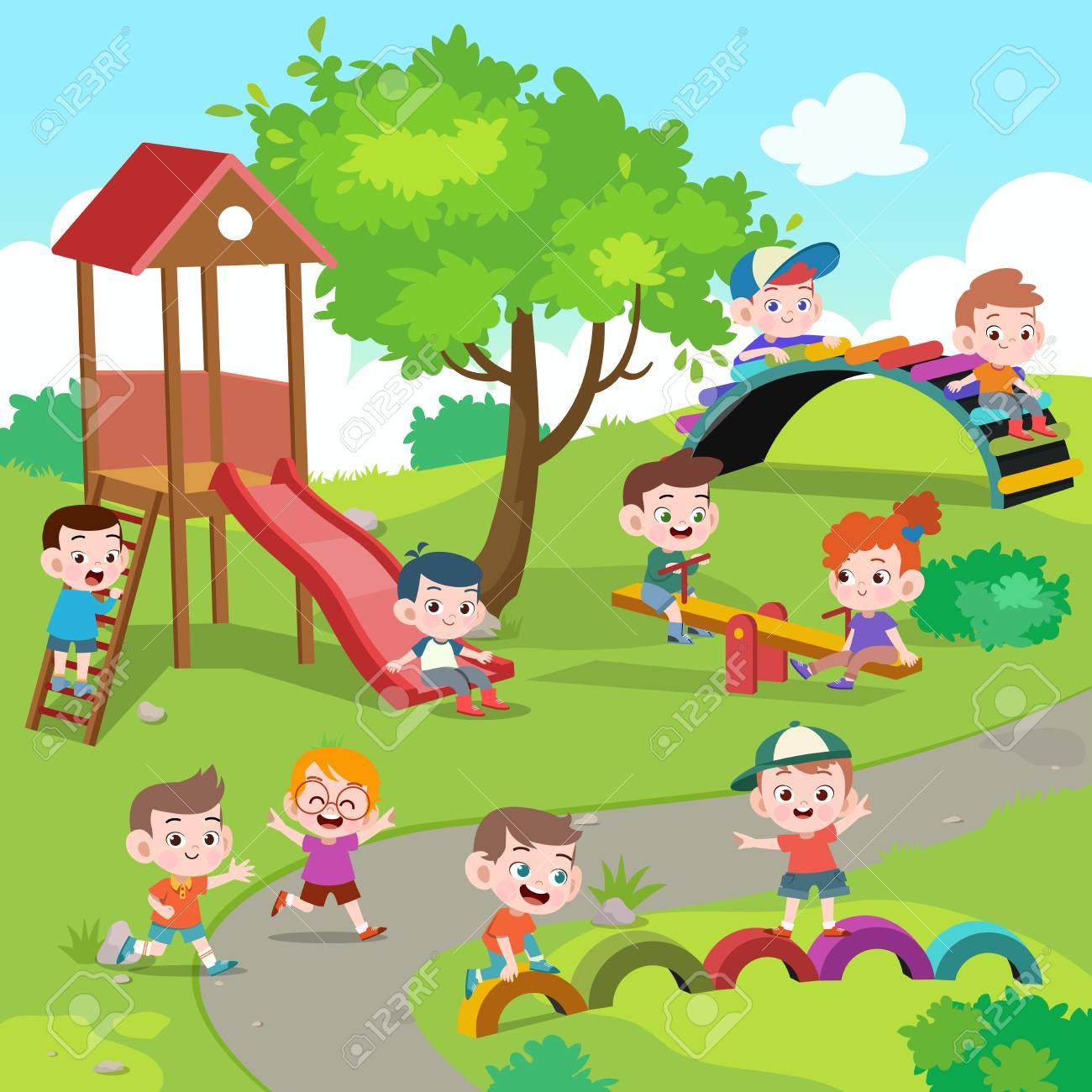 kids children playing playground vector illustration - 121178085