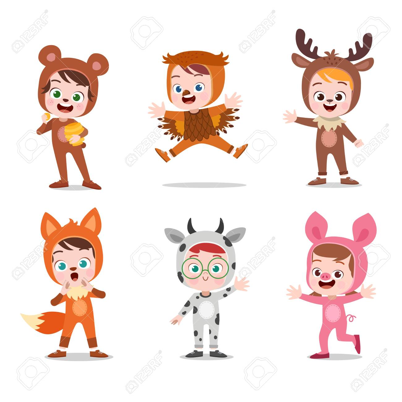 kids hapy cute with costume vector illustration - 138510994