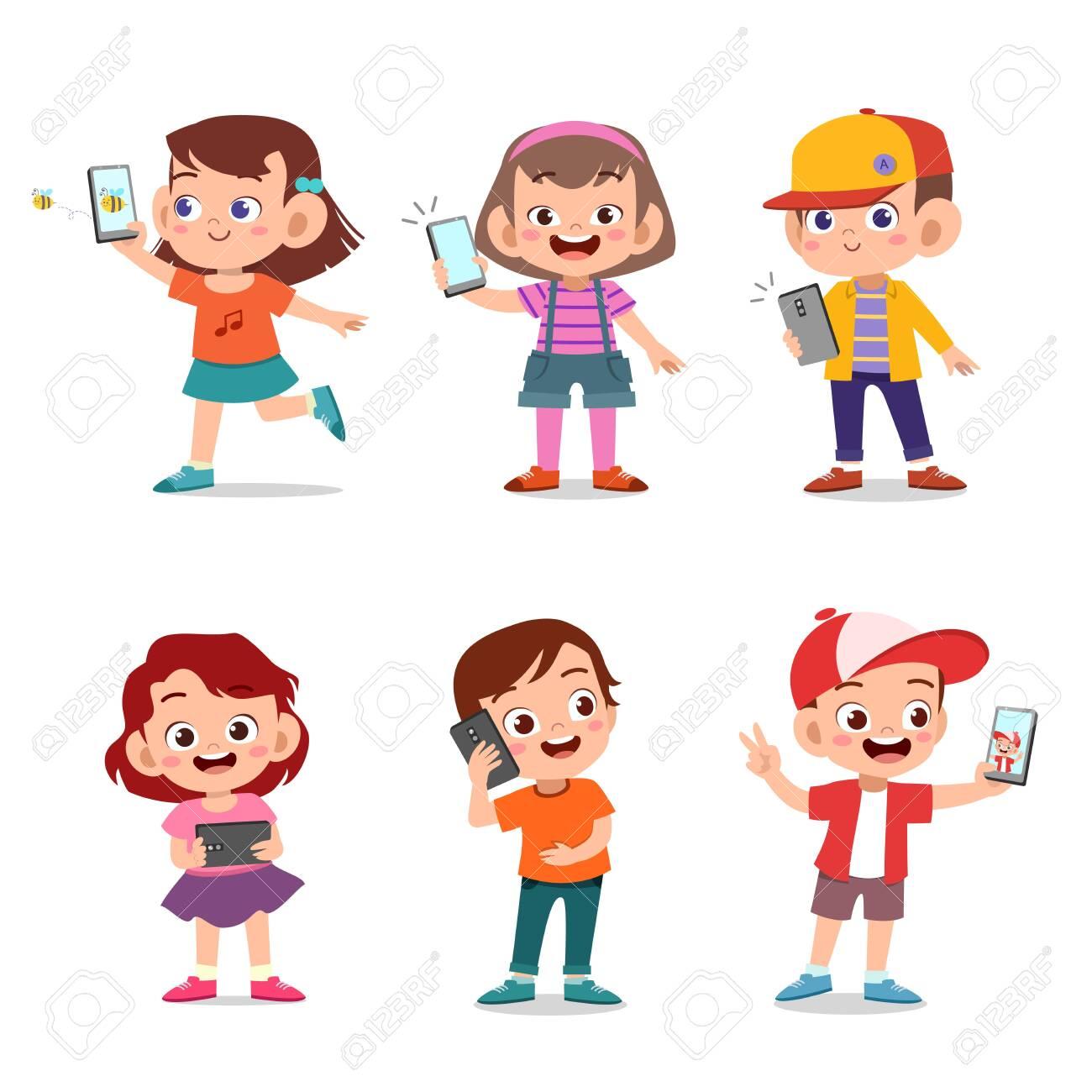 kids cute happy children with smartphone vector - 138511044