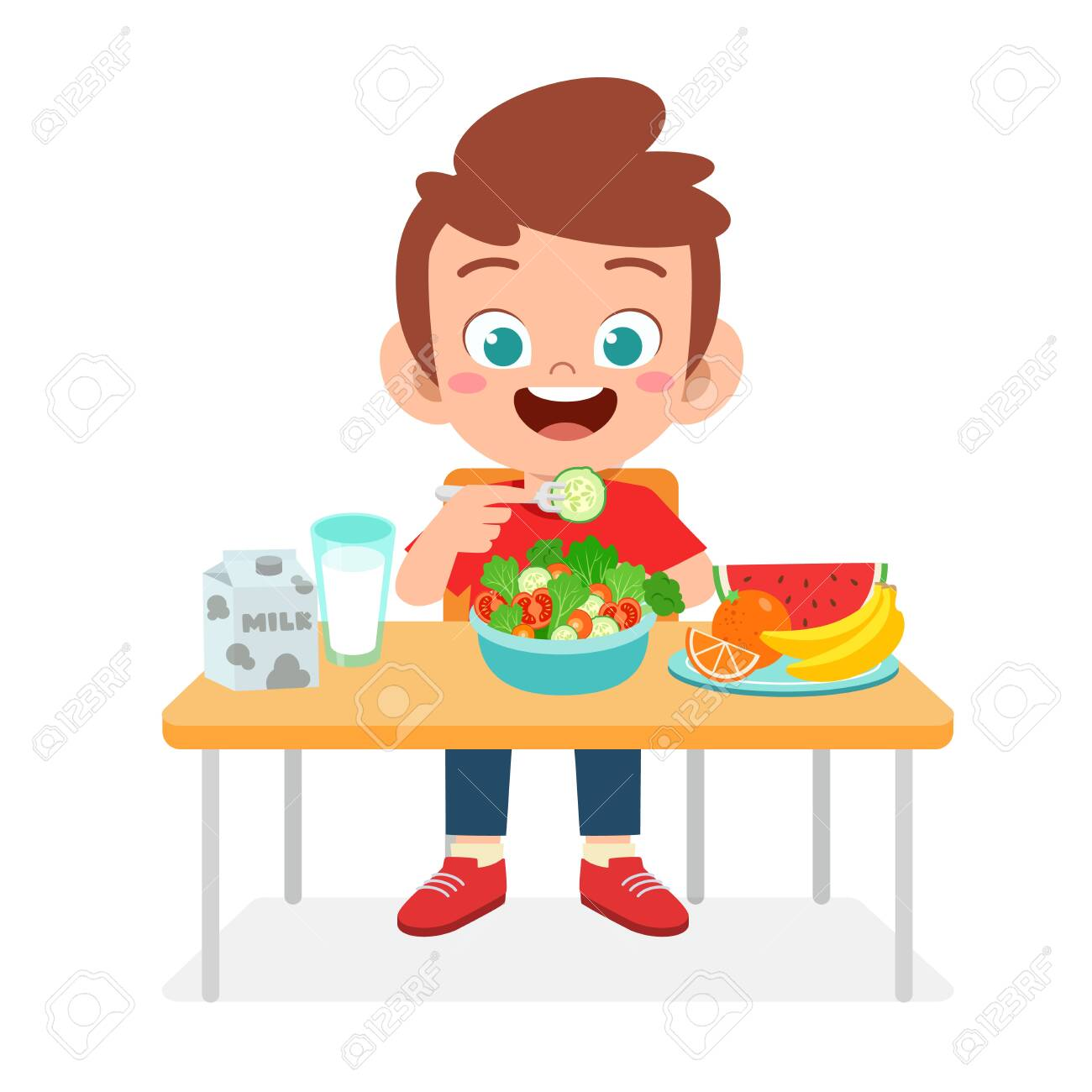 Happy Cute Kid Boy Eat Healthy Food Royalty Free Cliparts Vectors And Stock Illustration Image 138517885