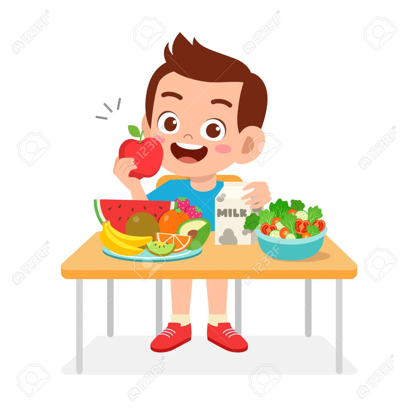Happy Cute Kid Boy Eat Healthy Food Royalty Free Cliparts Vectors And Stock Illustration Image 138518059