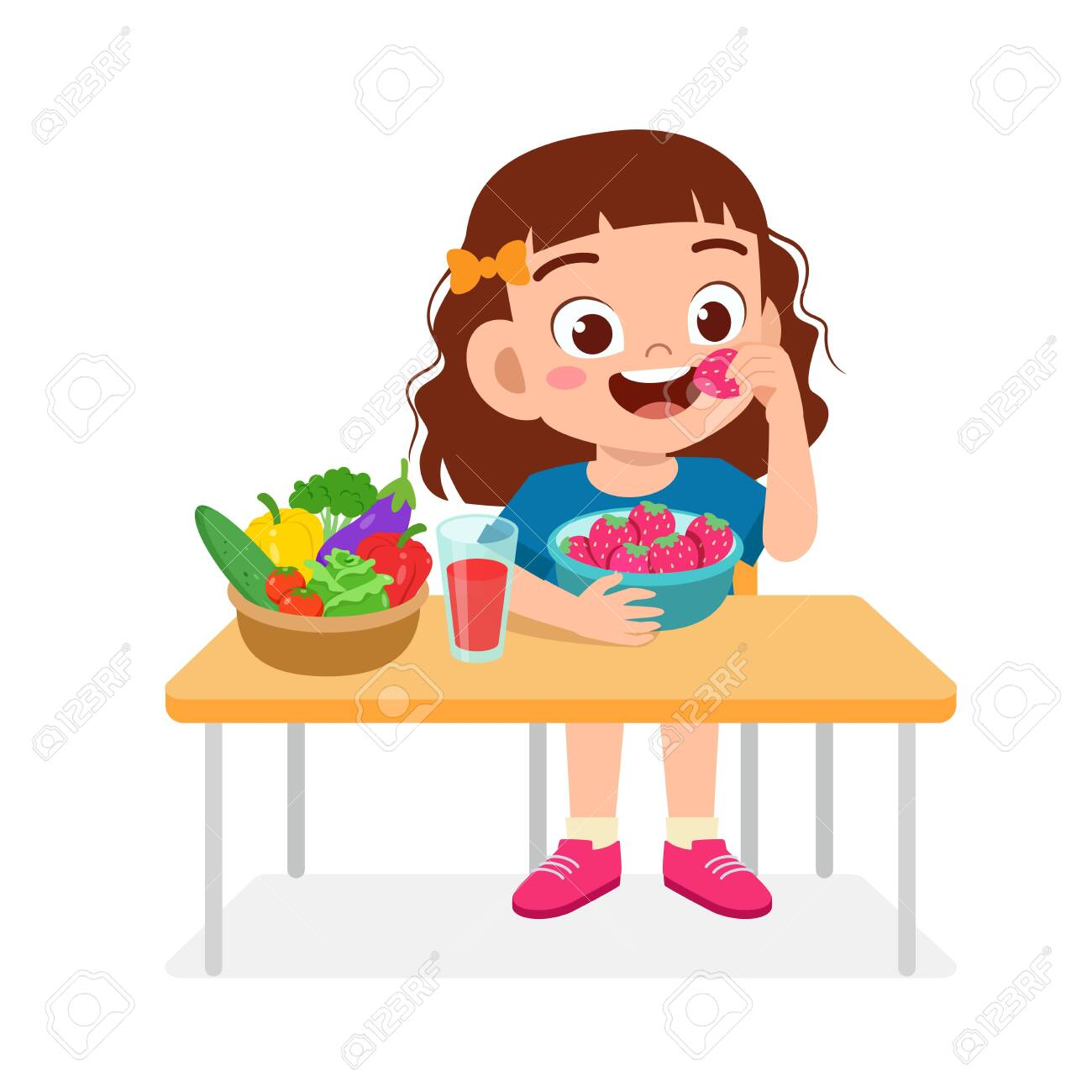 Happy Cute Kid Girl Eat Healthy Food Royalty Free Cliparts Vectors And Stock Illustration Image 138518333