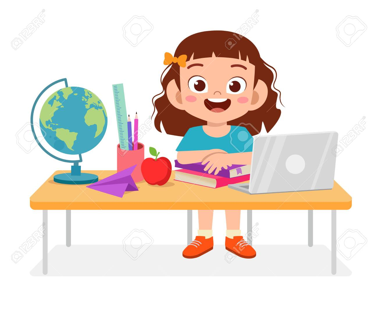 Happy Cue Kid Girl Study On Table Royalty Free Cliparts Vectors And Stock Illustration Image 138519479