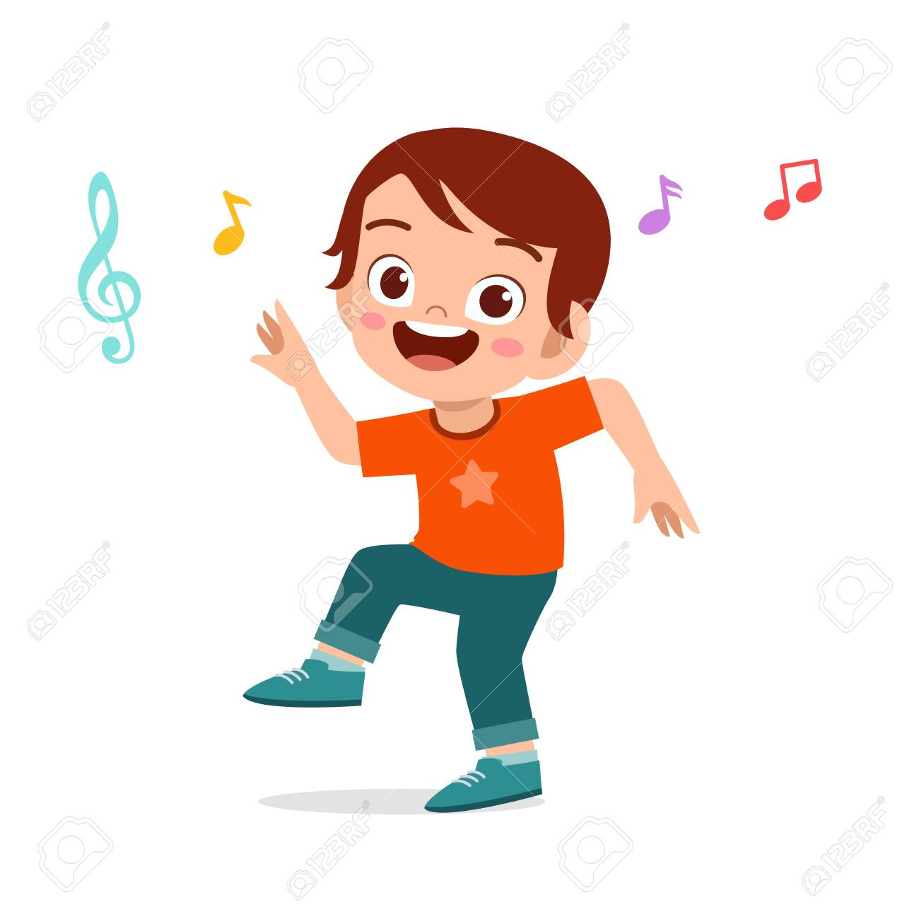 Happy Cute Kid Boy Dance With Music Royalty Free Cliparts Vectors And Stock Illustration Image 138519660