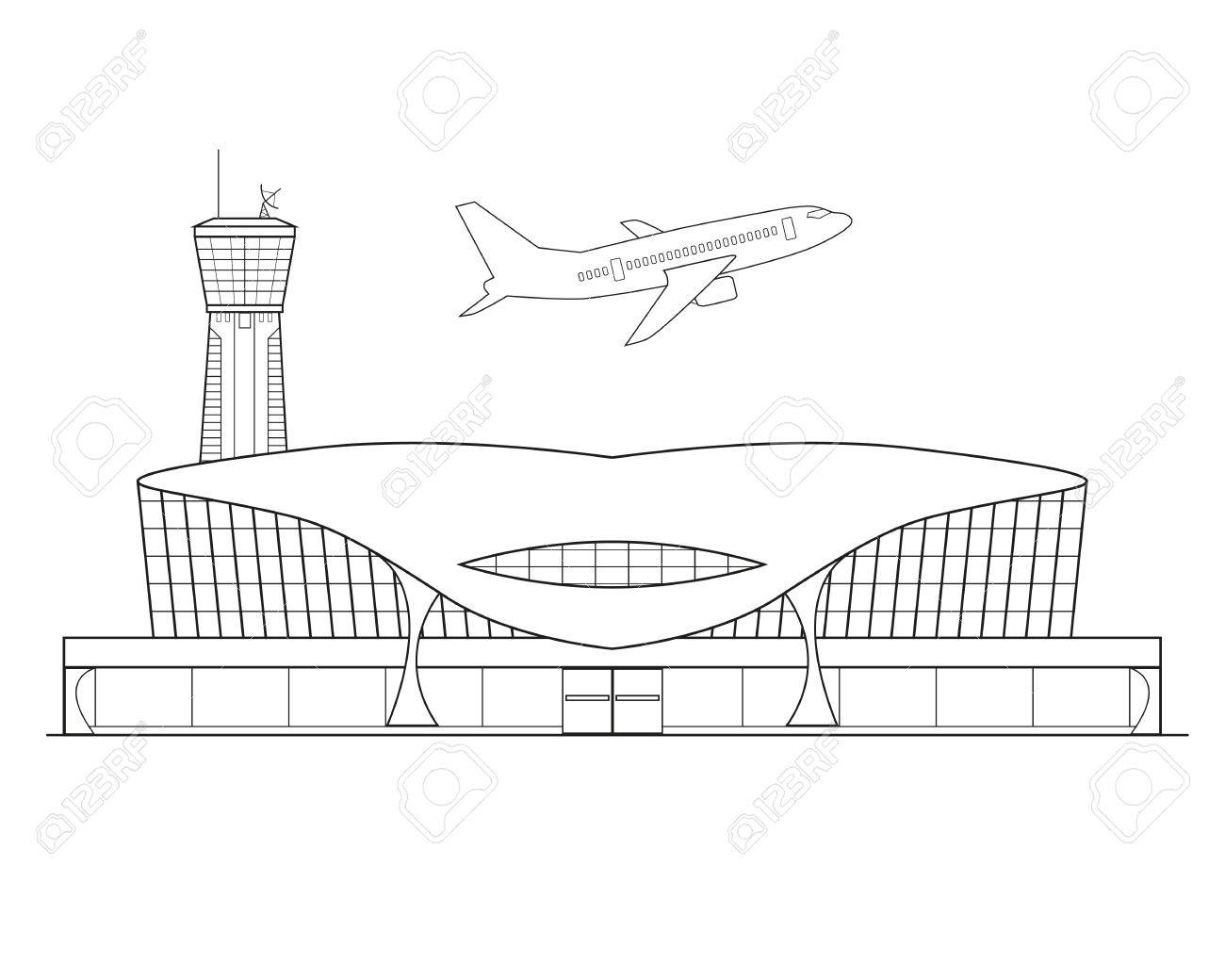 Thin Line Flat Design Airplane Takes Off From The Airport On