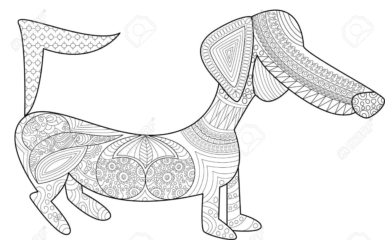 Dachshund Coloring Page Design, Dog Color Designs