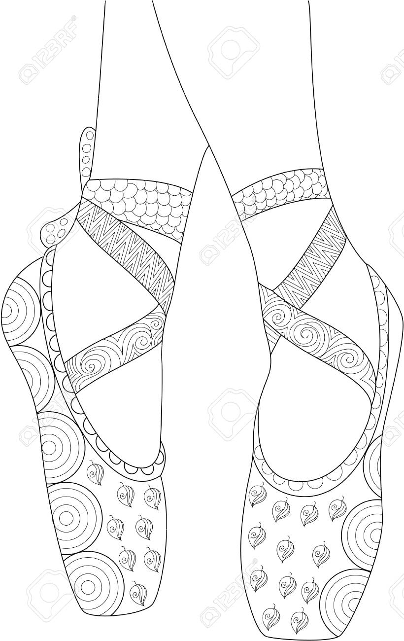 Ballerina Shoes Coloring Page for Adult and Kids