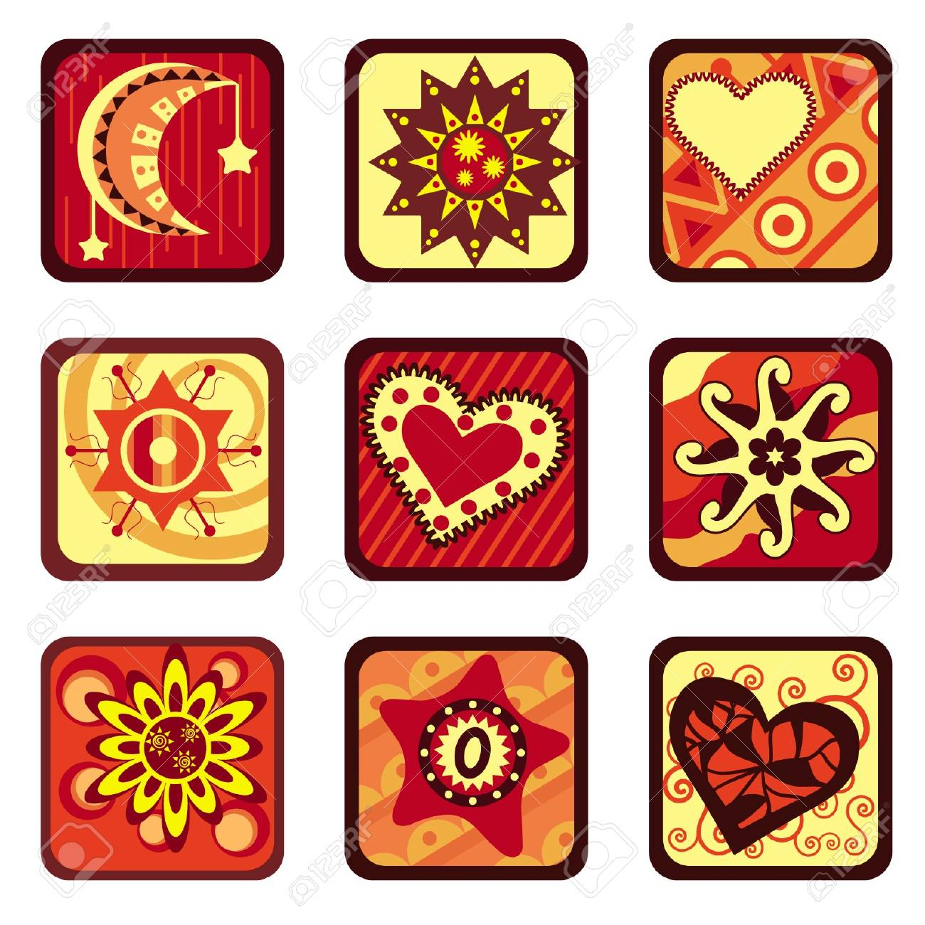 star and heart design set Stock Vector - 11454046