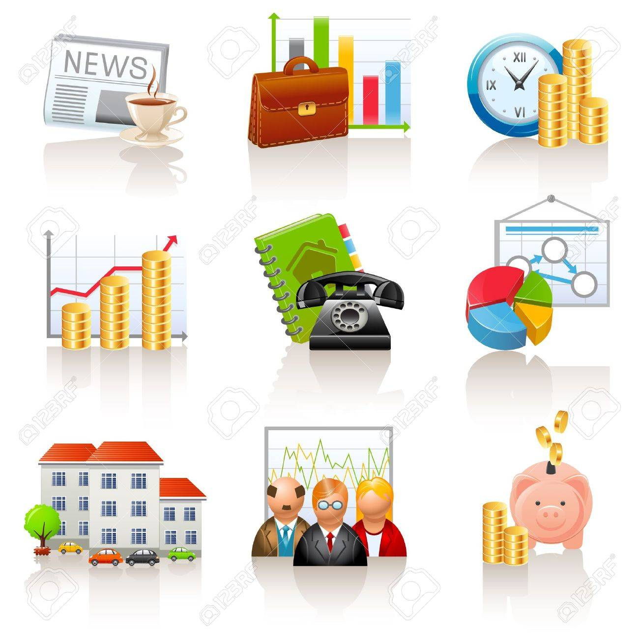 Business and finance icons Stock Vector - 12326745