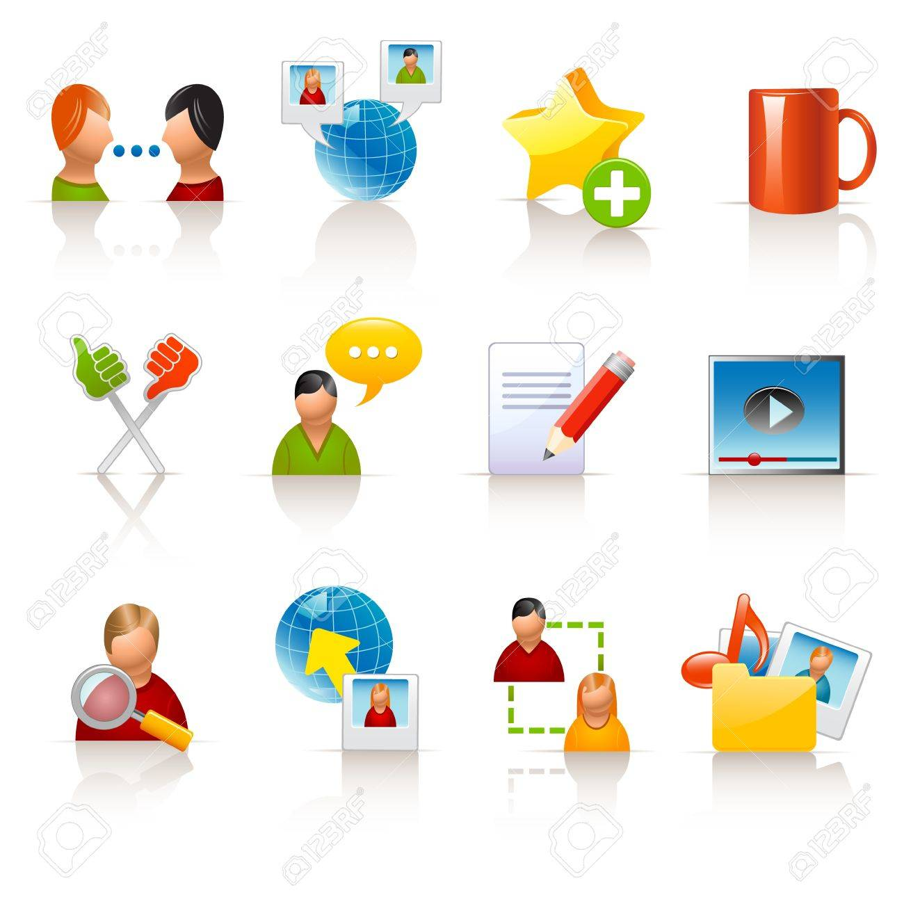 social media icons Stock Vector - 12489378