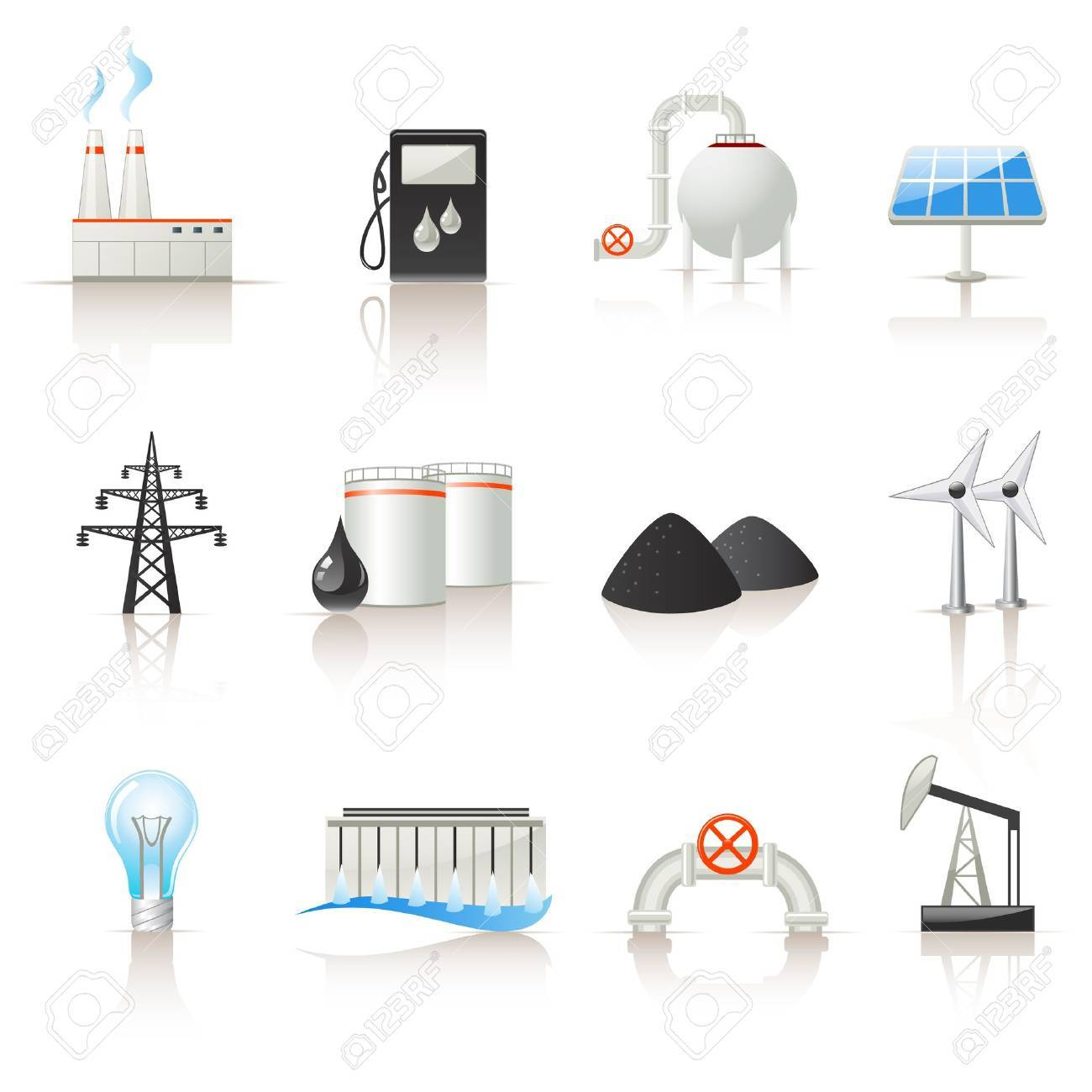 Power industry icon set Stock Vector - 12489503