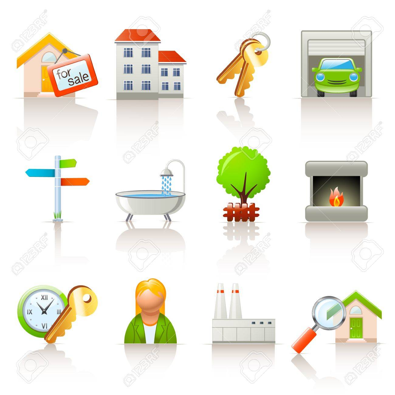 real estate icons Stock Vector - 13957266