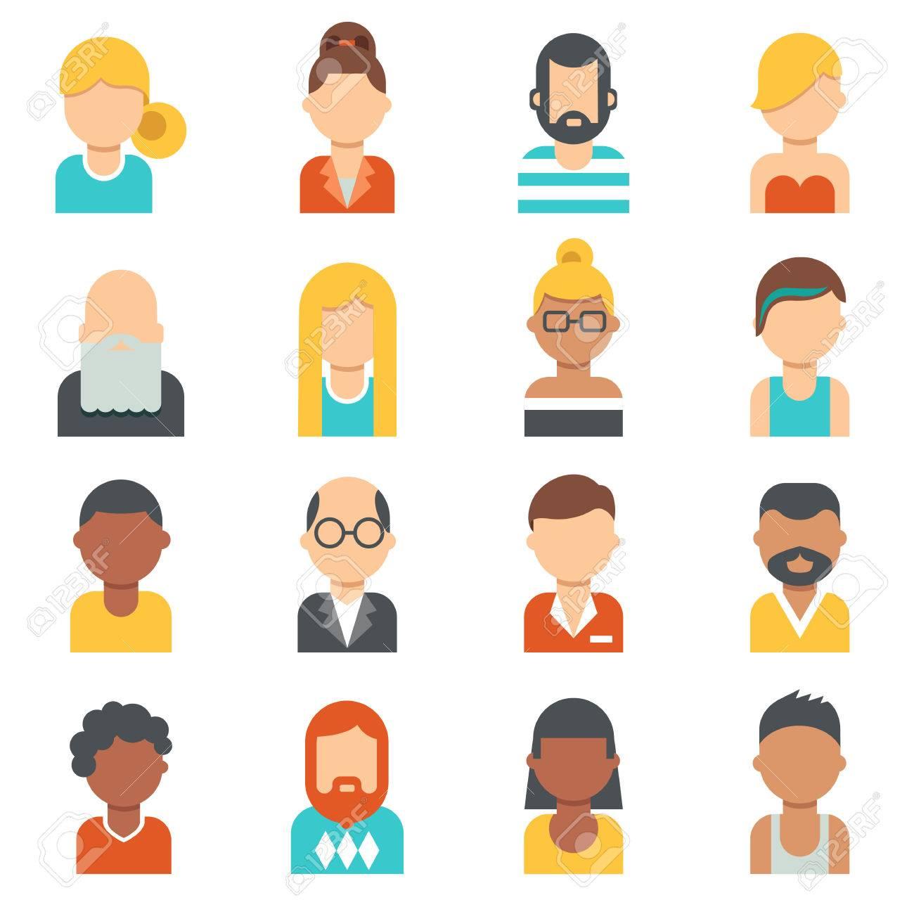 Menschen Ikonen Young Senioren Männer Und Frauen Bilder Profil