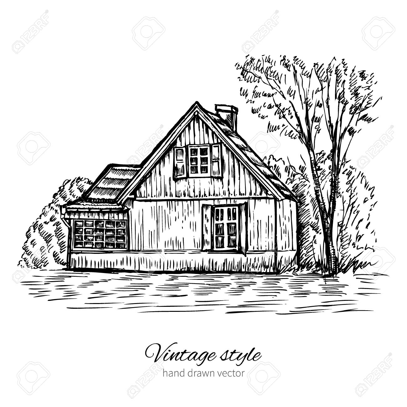 Vintage Vector Sketch Old European Wooden House Isolated On White Historical Building Sketchy Line Art