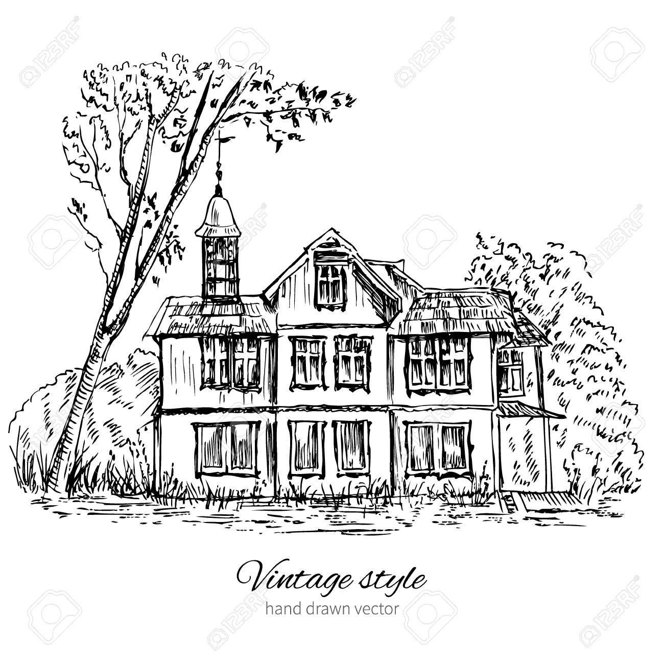 Vieille maison en bois dans les bois, Europe, illustration isolé sur blanc,  croquis à l\'encre, dessin au trait historique, modèle de carte postale de  ...
