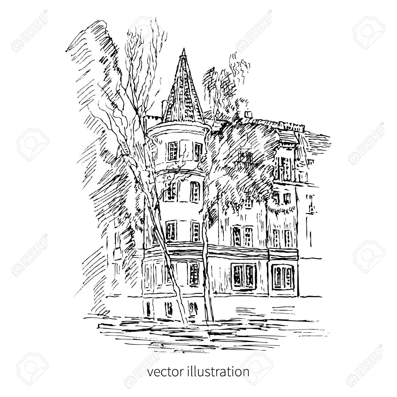 Vintage Tile Old European House Vector Graphic Illustration