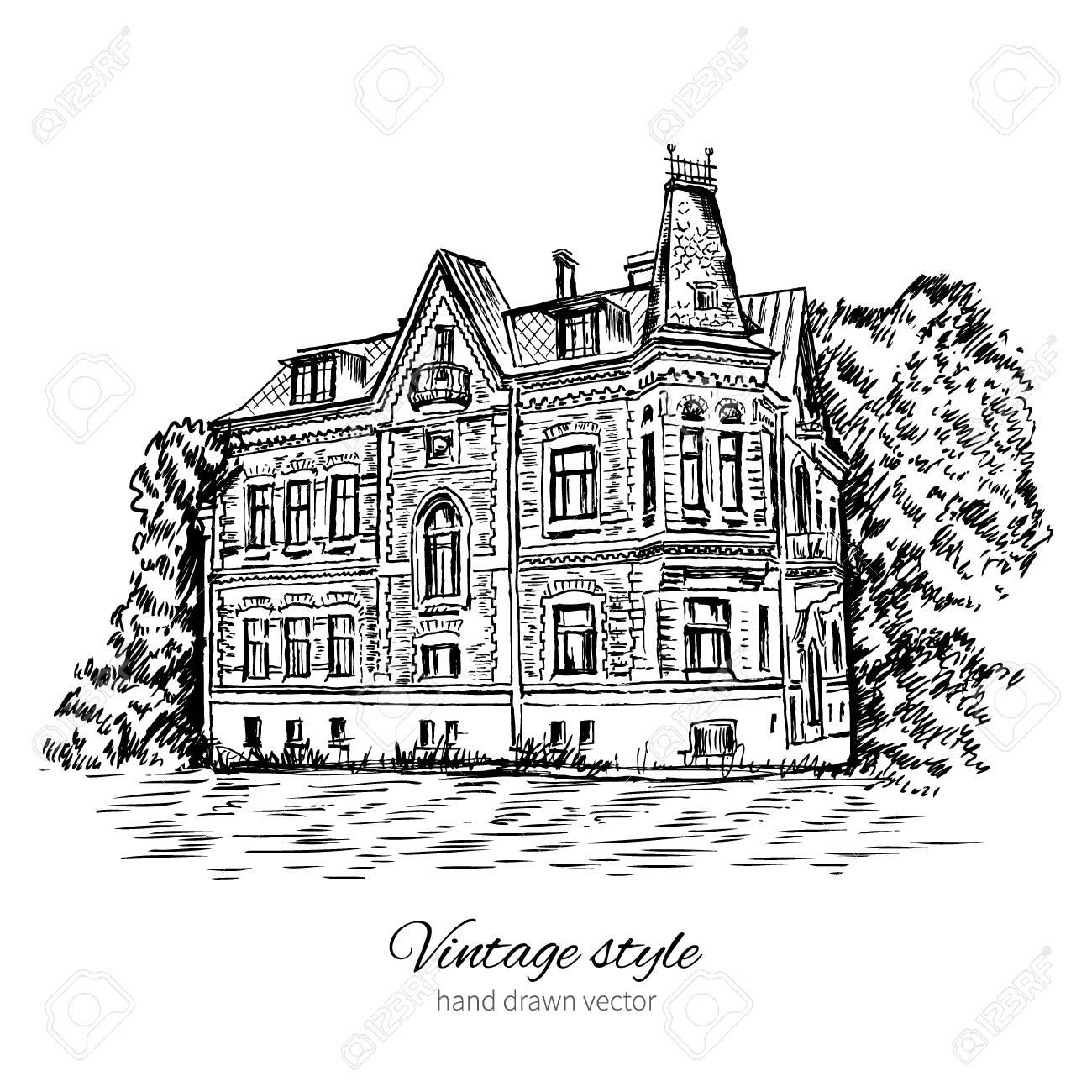 Vintage Vector Sketch Tile Old European House Mansion Historical