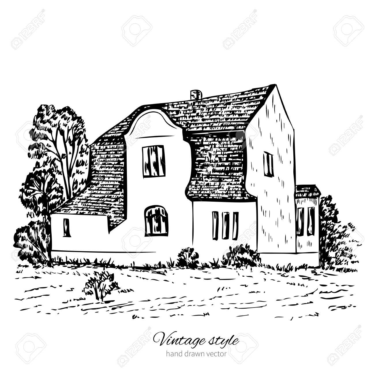 Vieille Maison Européenne, Manoir De Tuiles De Croquis De Vecteur ...