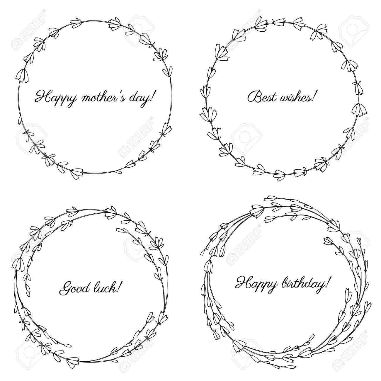 Lavender Flowers Wreath Isolated On A White Background Round