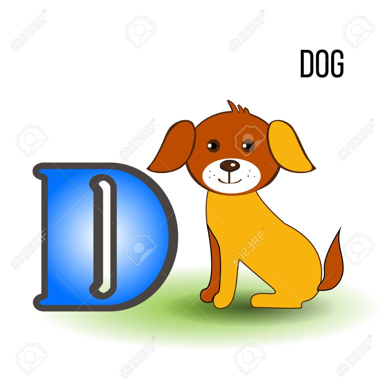 0c418129ffbd9 Foto de archivo - Lindo zoológico alfabeto inglés D con perro de dibujos  animados