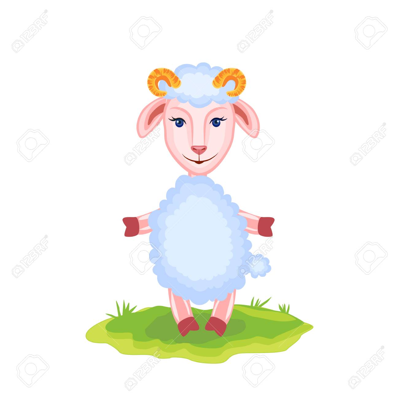Cartoon funny lamb kid cartoon animal domestic cute ship on cartoon funny lamb kid cartoon animal domestic cute ship on green grass isolated on voltagebd Images