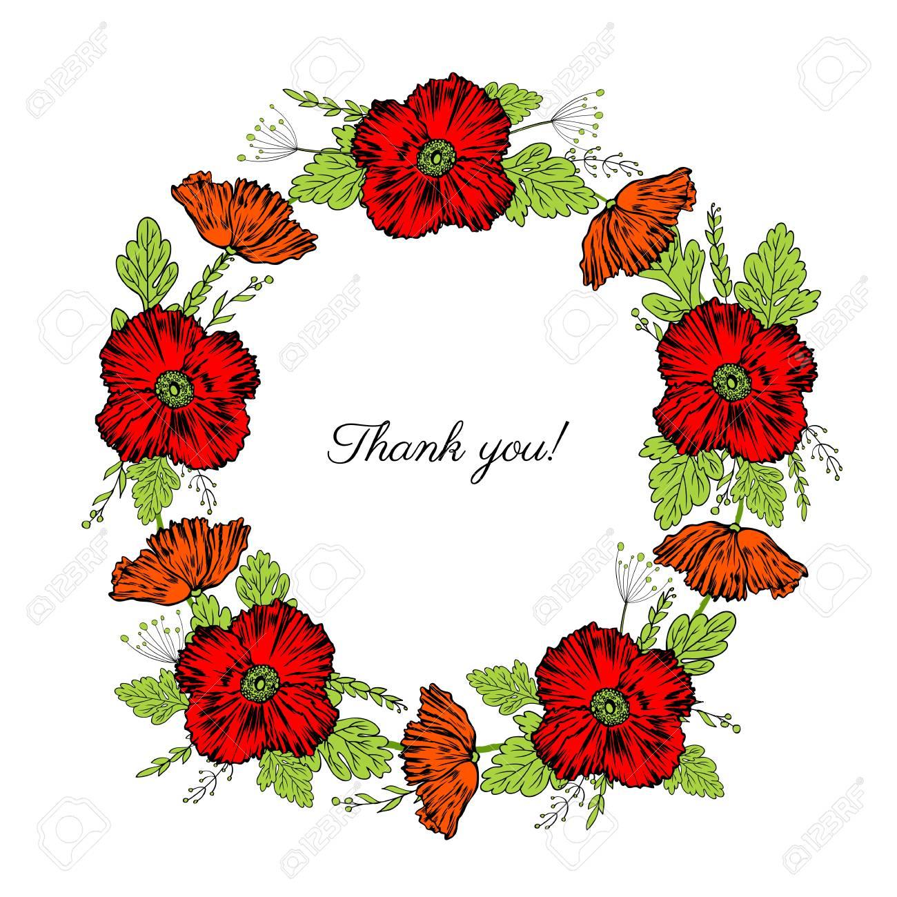 Red poppy flowers leaves floral wreath isolated on a white red poppy flowers leaves floral wreath isolated on a white background round frame hand mightylinksfo