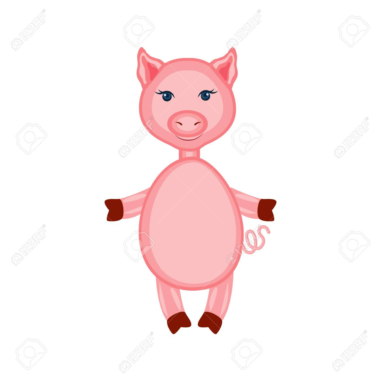 cartoon cute pink pig standing isolated on white royalty free
