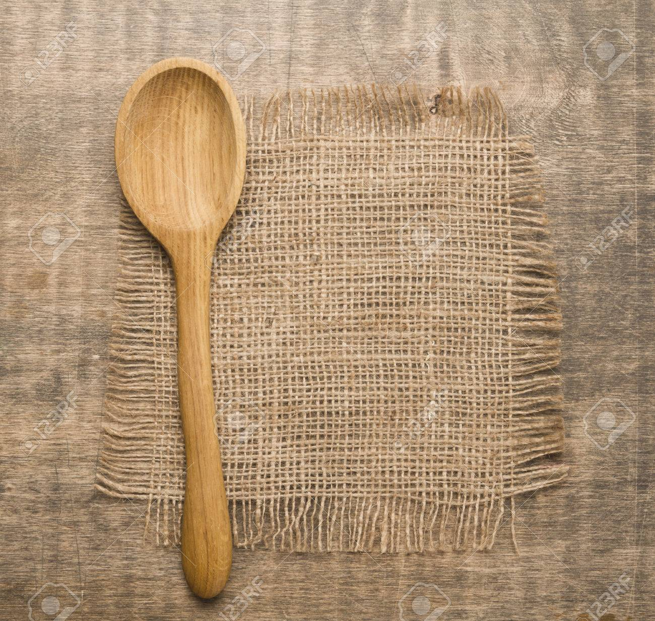 Stock Photo   Wooden Spoon On Rustic Wooden Table