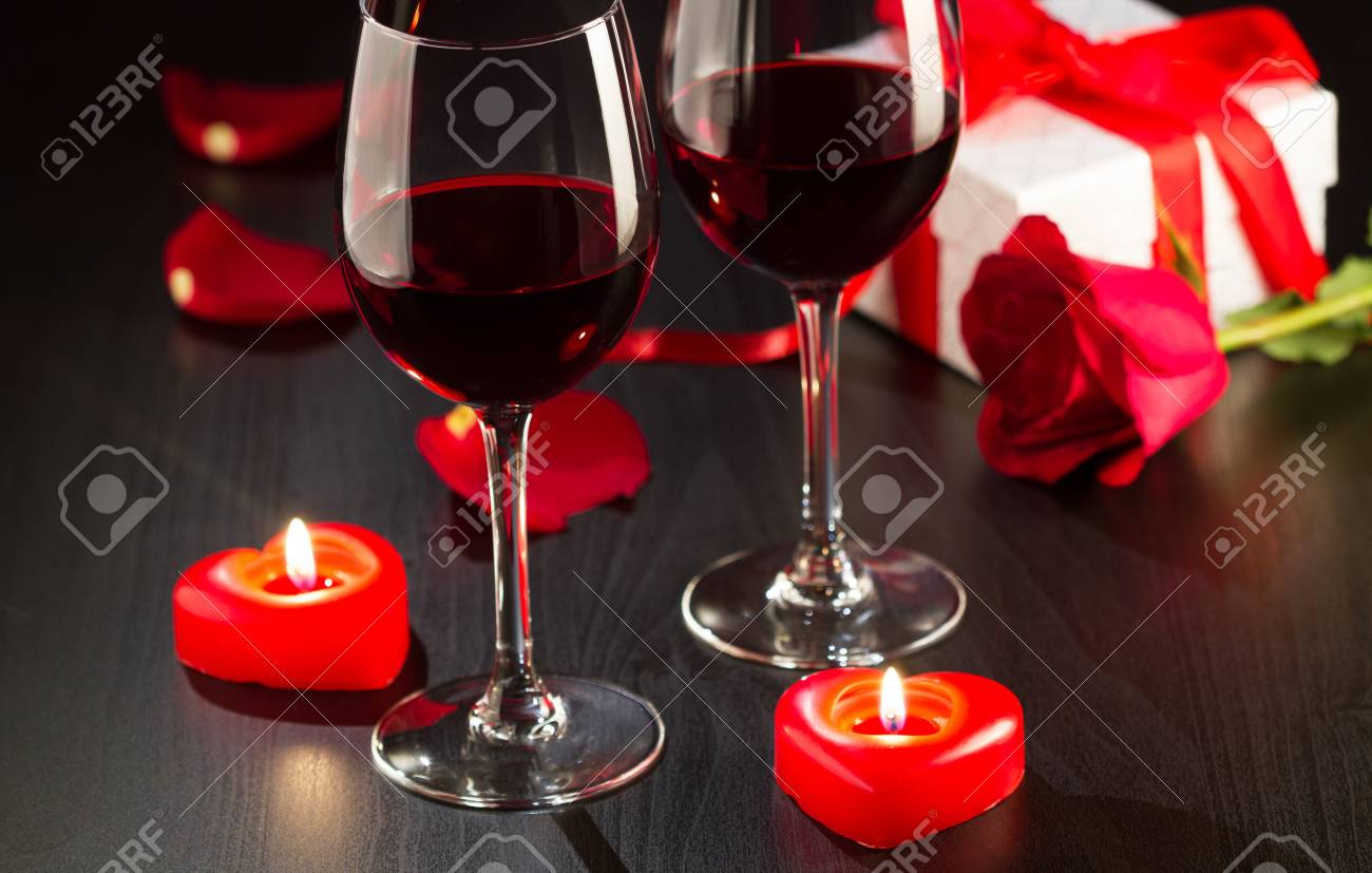 Two Red Wine Glasses For Valentines Day Stock Photo Picture And
