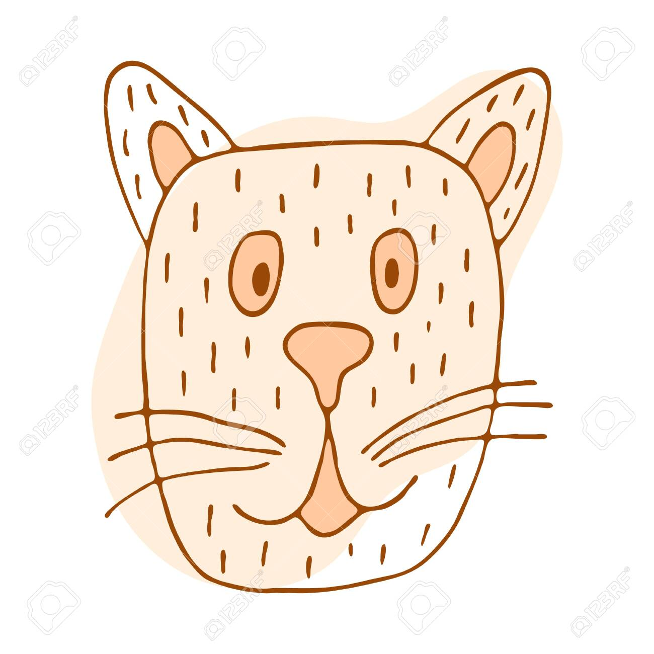Vector Stock Kitten Illustration Orange Pink Cat In Doodle Style Royalty Free Cliparts Vectors And Stock Illustration Image 147388236
