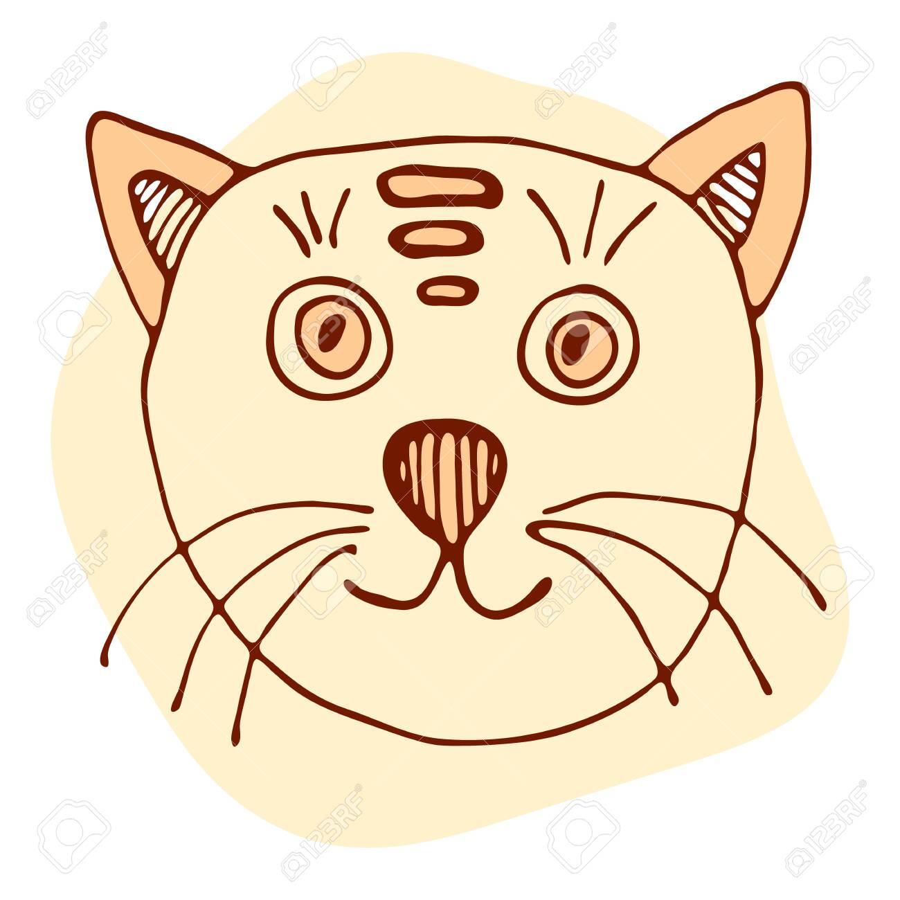 Vector Stock Kitten Illustration Orange And Brown Cat In Doodle Royalty Free Cliparts Vectors And Stock Illustration Image 147388409
