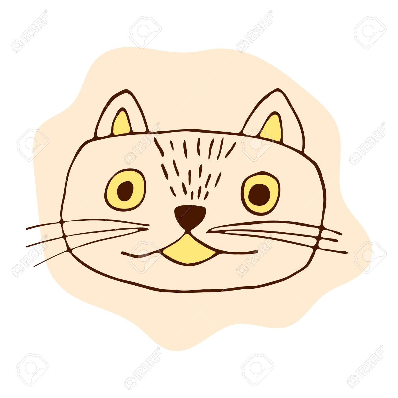 Vector Stock Kitten Illustration Orange Pink Cat In Doodle Style Royalty Free Cliparts Vectors And Stock Illustration Image 147389426