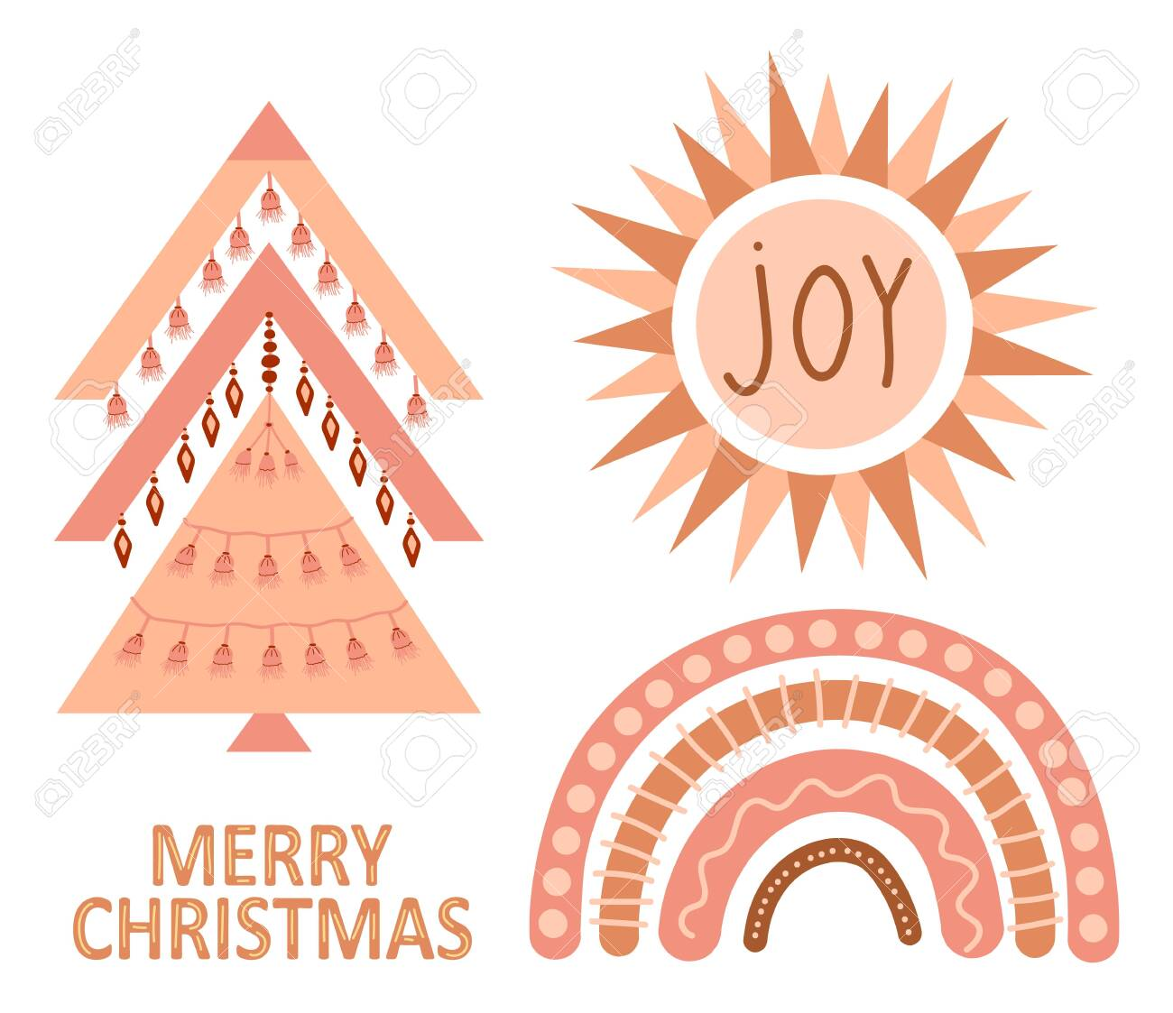 Geometric Christmas Tree With Ethnic Ornaments And Abstract Boho Royalty Free Cliparts Vectors And Stock Illustration Image 156776580