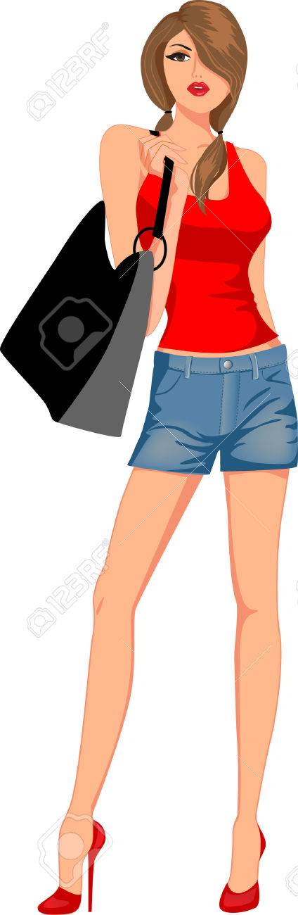 fashion girl with bags Stock Vector - 7274531