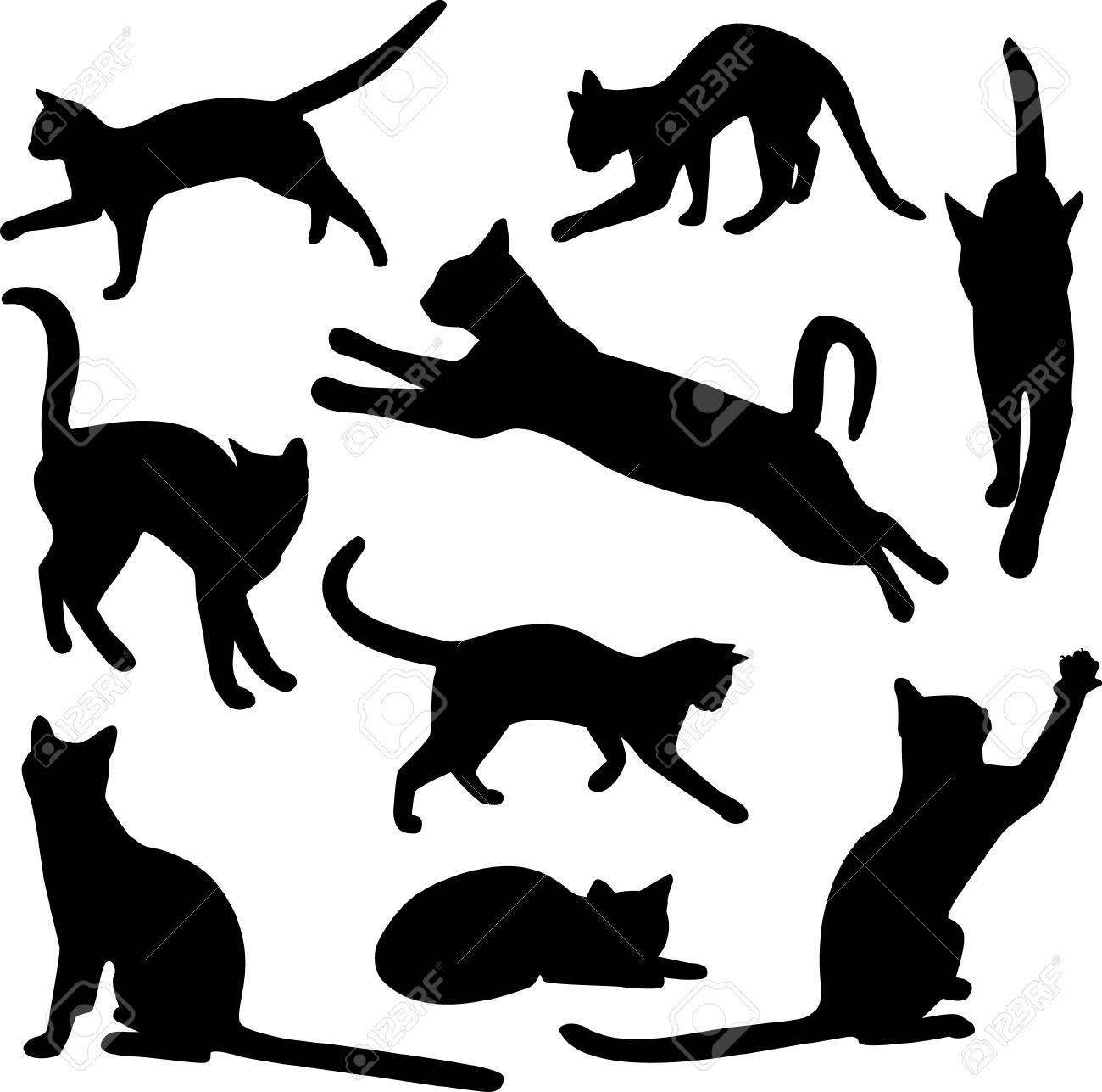 colección de vector de siluetas de gato  Foto de archivo - 7593930