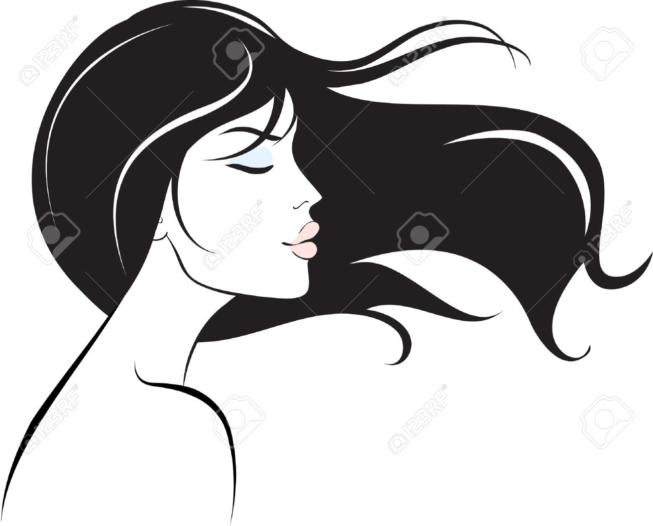 Woman Face Clipart Black And White woman face with long black