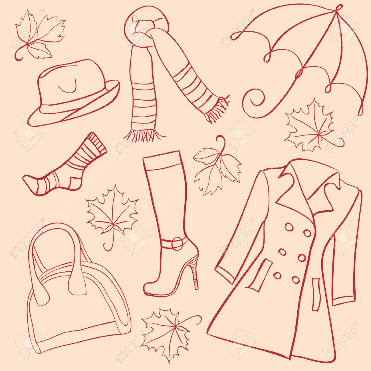 Set of woman autumn clothes Stock Vector - 7716641