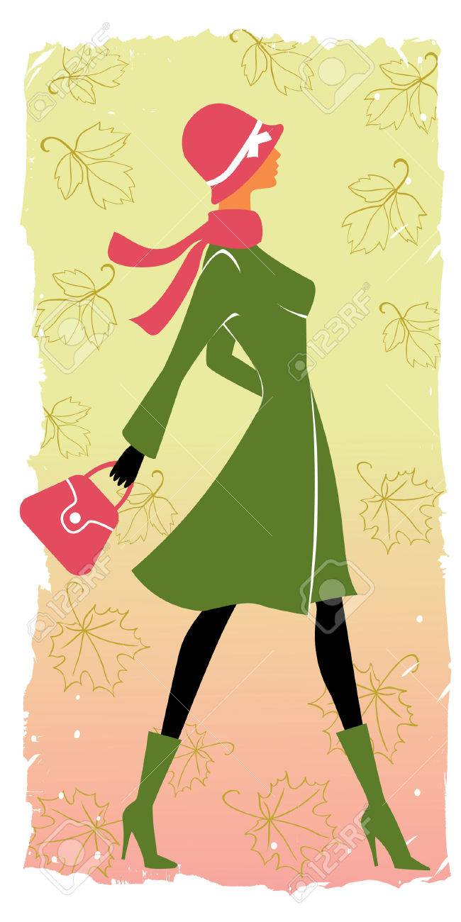 stylish shopping girl in autumn Stock Vector - 7802304