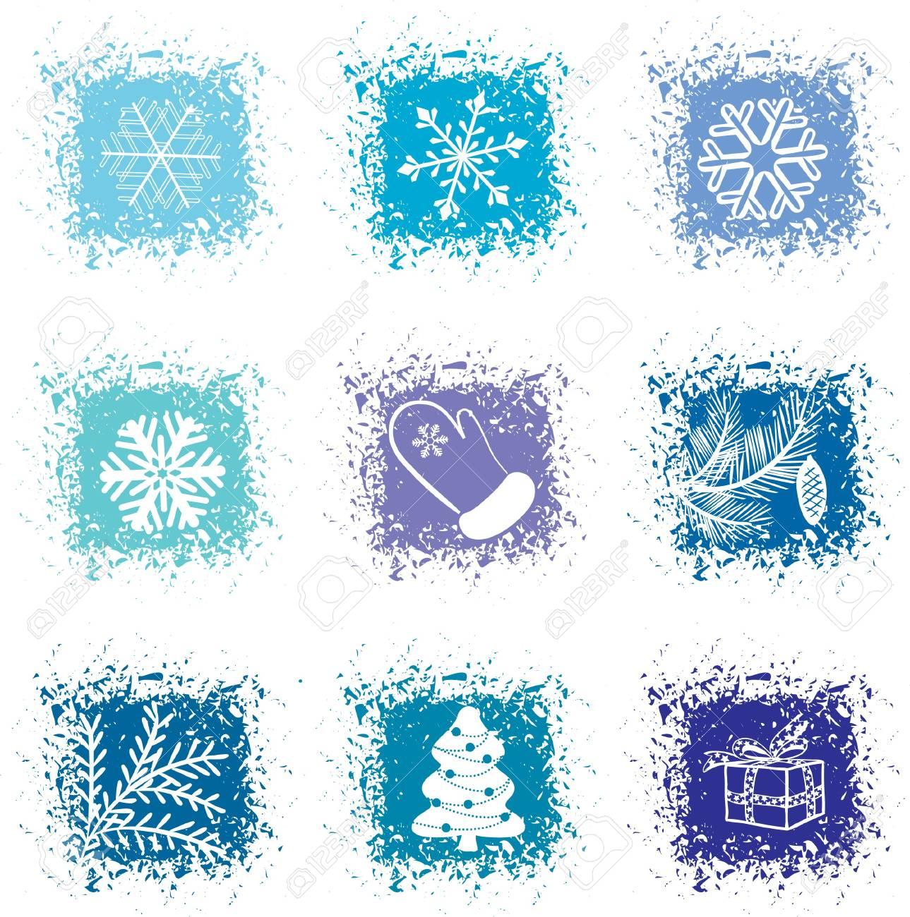Set christmas icons Stock Vector - 8002217