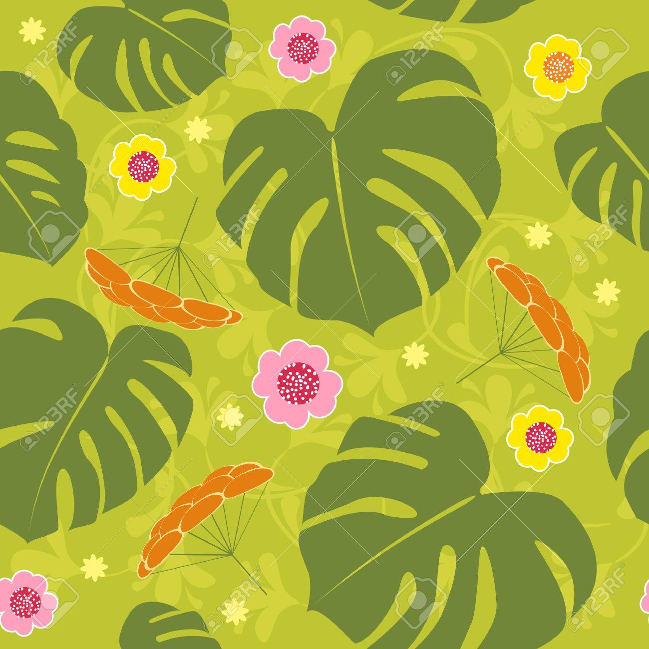 tropical seamless floral vector background Stock Vector - 8657518
