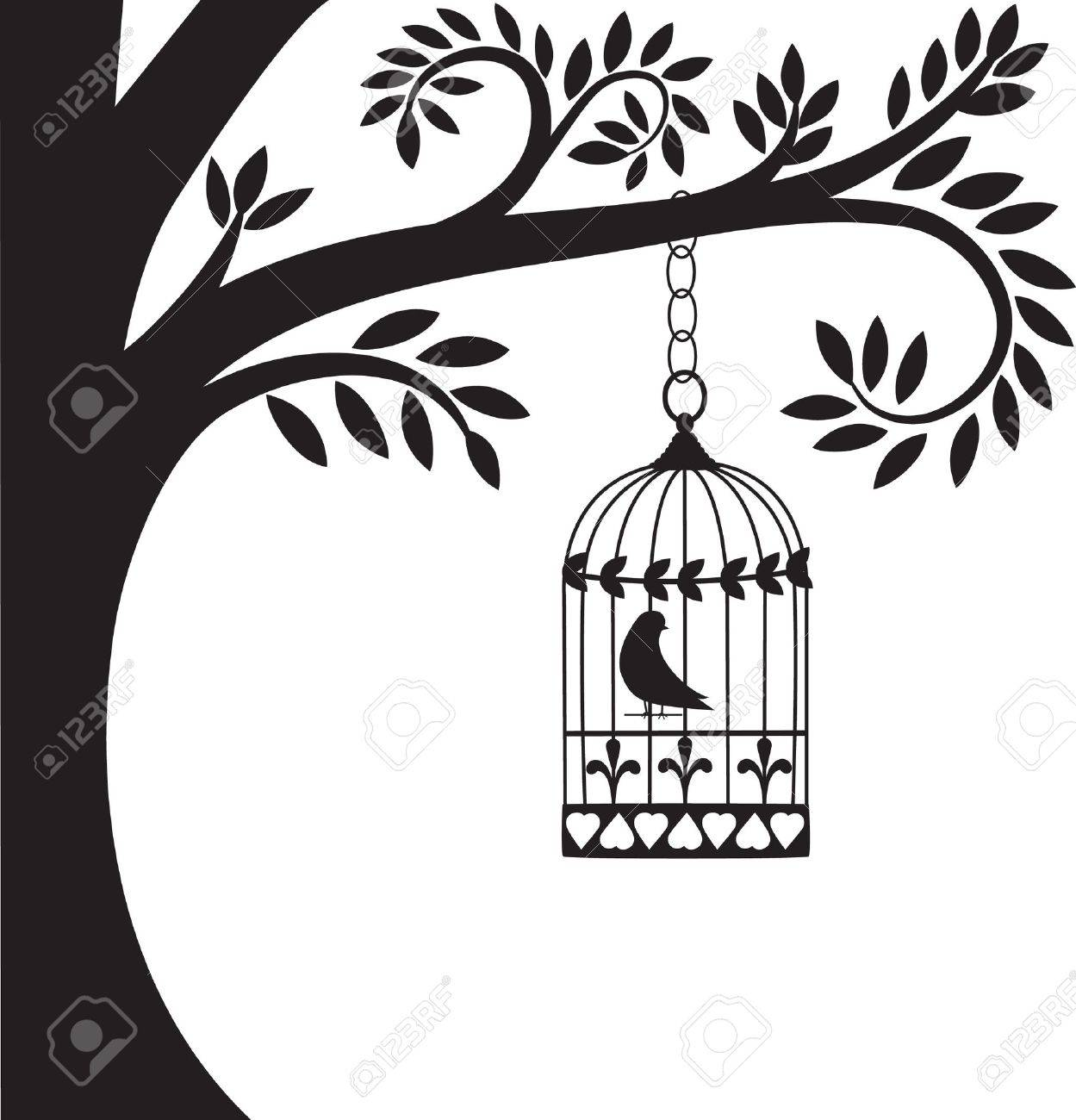 bird cage and tree Stock Vector - 8884710