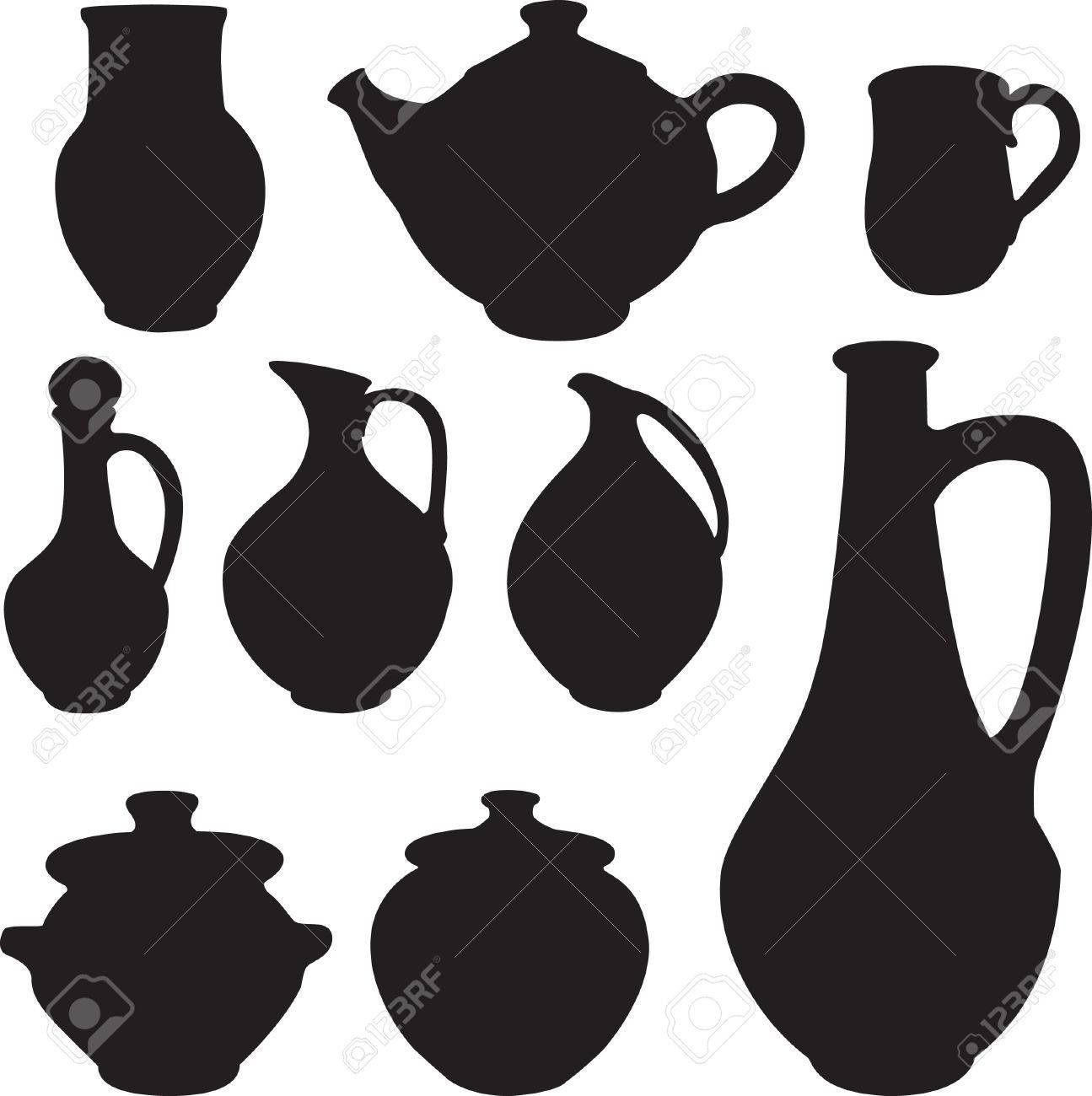 antique silhouette set ware. Stock Vector - 9295311