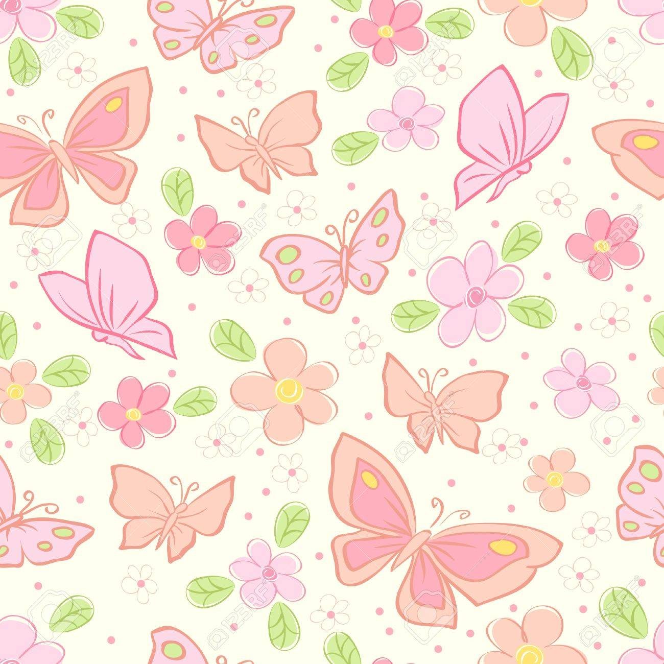 seamless background with butterfly colorful illustration royalty