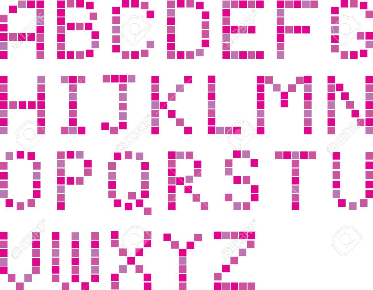 Vector glamour set of color pixel art alphabets Stock Vector - 9709892